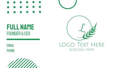 Minimalist Leaves Lettermark Business Card