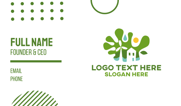 green energy - Green Sustainable House Business card horizontal design