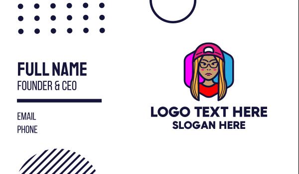 hackathon - YouTube Vlogging Gamer Girl  Business card horizontal design