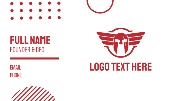 red wings - Red Helmet Wing Business card horizontal design