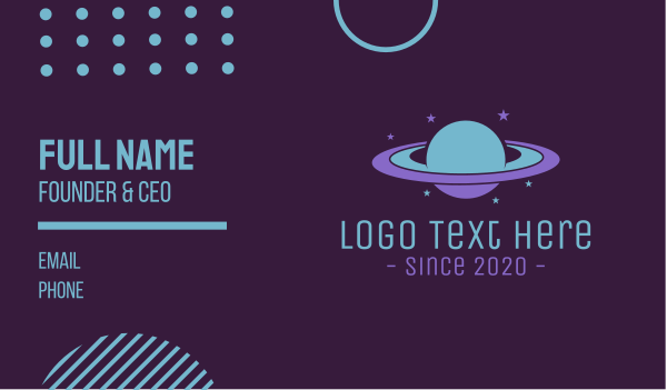 Saturn Planet Business Card