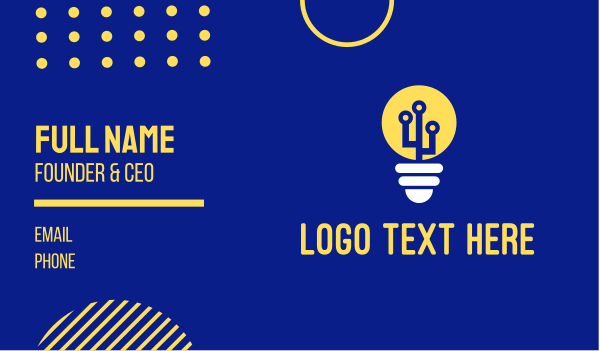 concept - Electric Bulb Energy  Business card horizontal design