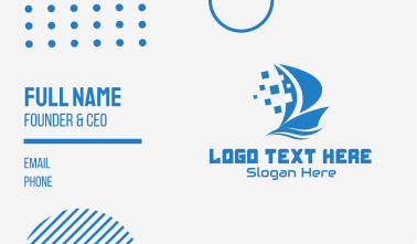 Blue Pixelated Ship Business Card