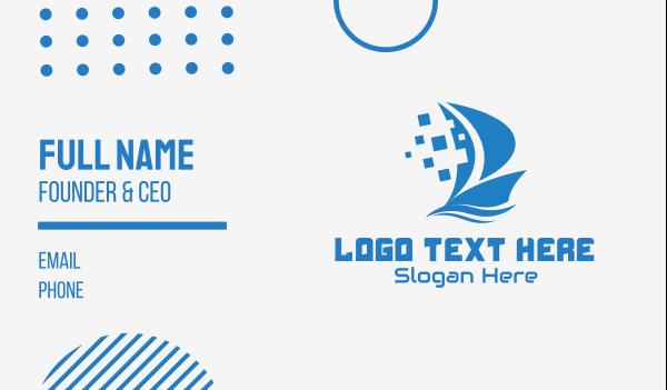 carriage - Blue Pixelated Ship Business card horizontal design