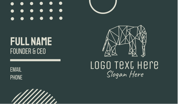animal welfare - Minimal Elephant Business card horizontal design