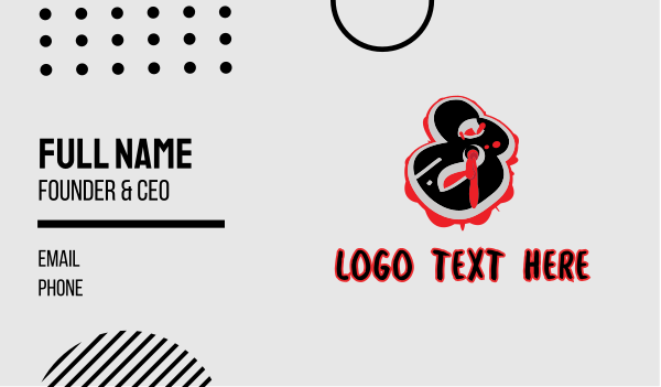 bullet hole - Splatter Graffiti Number 8 Business card horizontal design