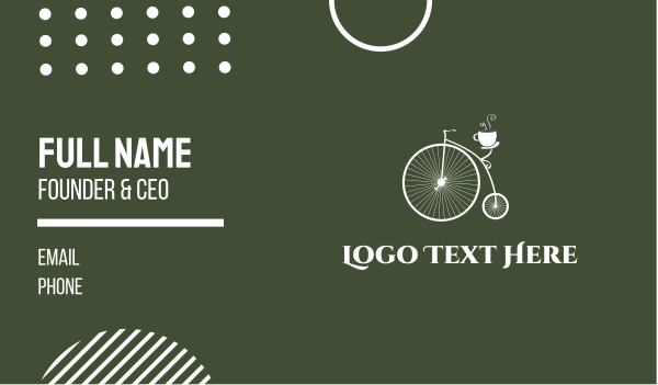 old style - Old Bicycle Cafe Business card horizontal design