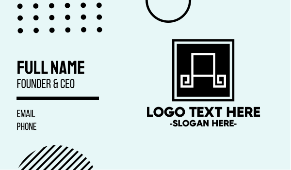 mediterranean - Professional Letter A Tile Business card horizontal design