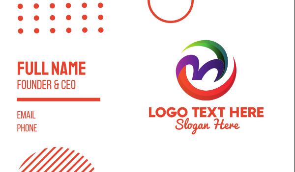 concert hall - Tropical Letter M  Business card horizontal design