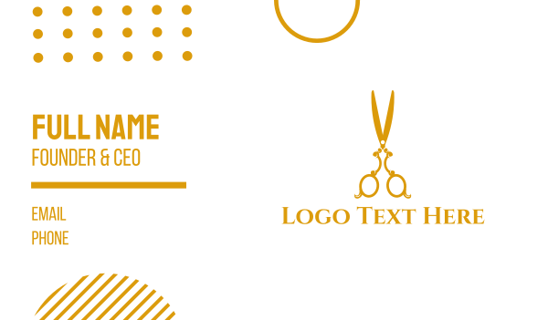 old style - Gold Scissors Business card horizontal design