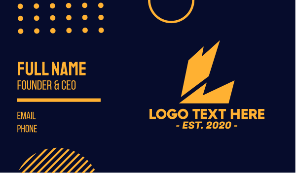 thunder bolt - Electric Letter L Business card horizontal design