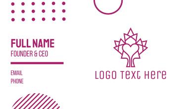 Mosaic Maple Leaf Heart Business Card