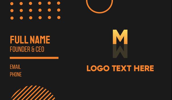 mirror - Letter M Mirror Reflection Business card horizontal design