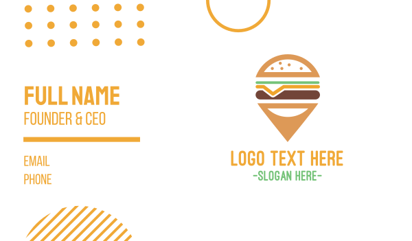 locator - Cheeseburger Pin Business card horizontal design