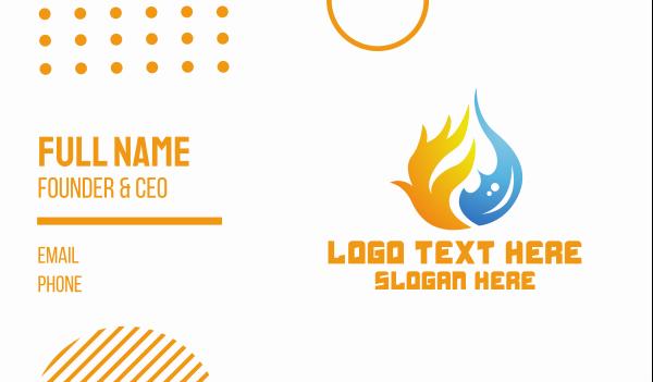 temperature - Fire & Water Element  Business card horizontal design