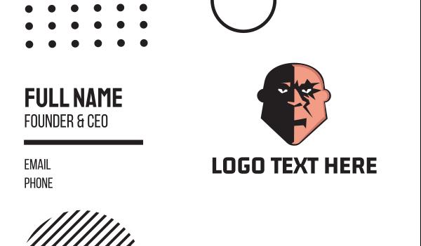 thug - Bald Villain Business card horizontal design
