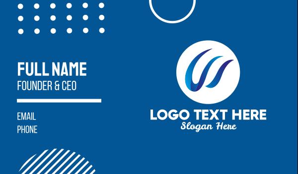 media company - 3D Letter W Ribbon Business card horizontal design