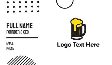 Golden Foaming Beer Mug Business Card