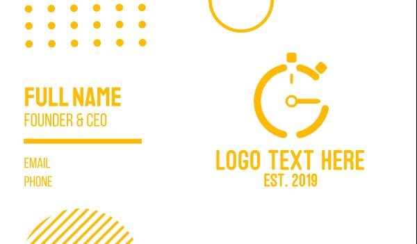 pt - Gold Stop Watch Business card horizontal design