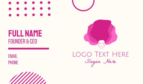 facial care - Pink Beautiful Woman Business card horizontal design