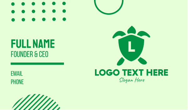 safety - Green Turtle Shield Lettermark Business card horizontal design