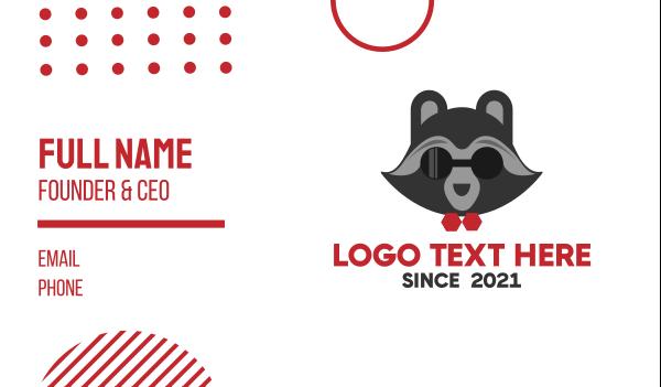 shades - Gray Raccoon Mascot Business card horizontal design