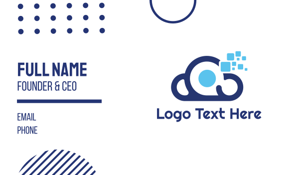 dark blue - Blue Tech Cloud Business card horizontal design