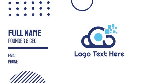 atmosphere - Blue Tech Cloud Business card horizontal design