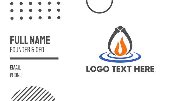 heating and cooling - Fire & Water Business card horizontal design