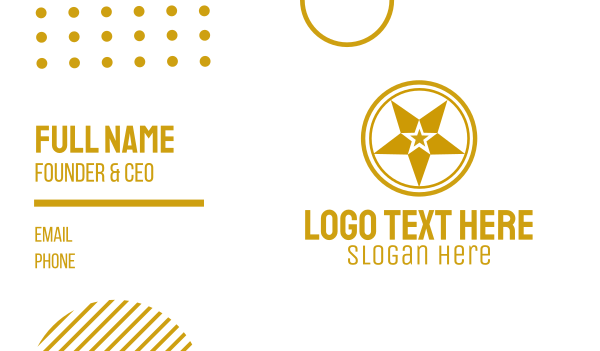 starry - Gold Star Symbol Business card horizontal design