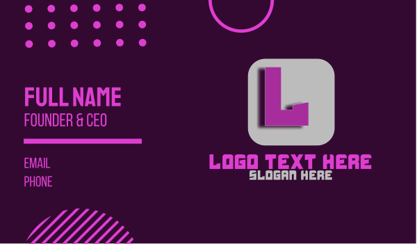 robotic - Futuristic Lettermark App Business card horizontal design