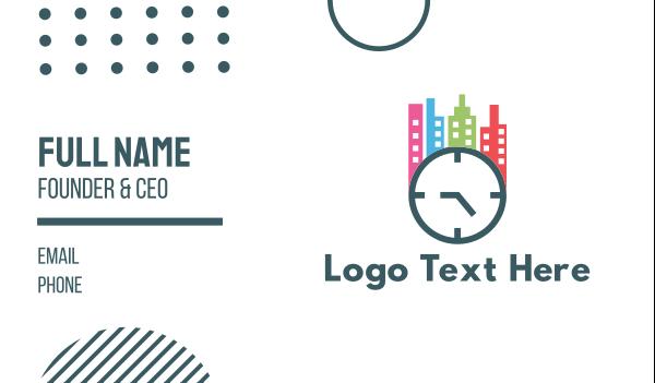 minute - City Clock Business card horizontal design
