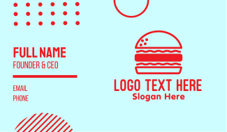 Red Burger Restaurant  Business Card
