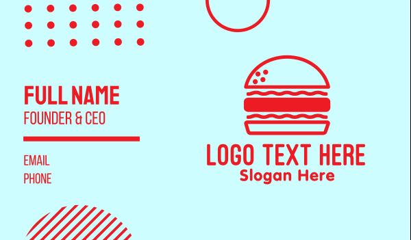 patty - Red Burger Restaurant  Business card horizontal design