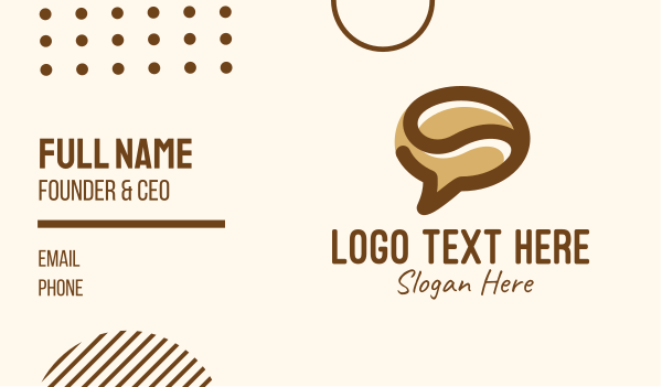 messenger - Brown Coffee Bean Chat Business card horizontal design