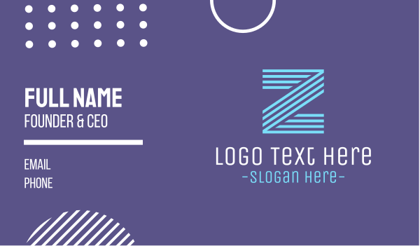 lettermark z - Striped Blue Letter Z Business card horizontal design
