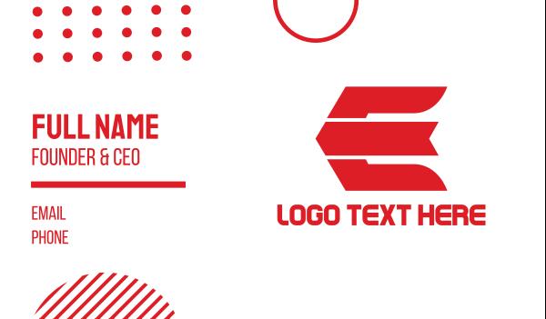 archery - Red Modern E  Business card horizontal design