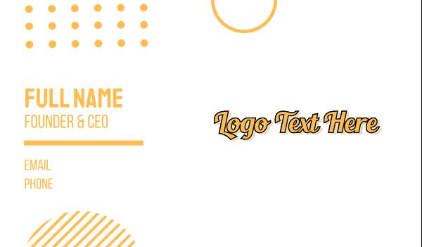 poker - Vintage Yellow Script Business card horizontal design