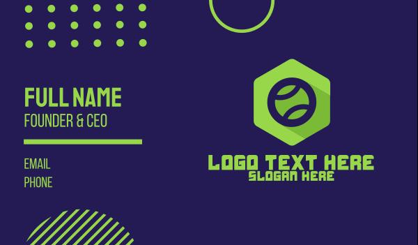 sports shop - Green Tennis Ball Emblem  Business card horizontal design