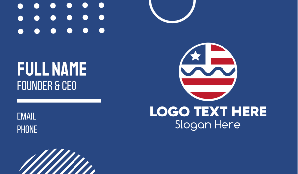 north america - Circle American Flag  Business card horizontal design