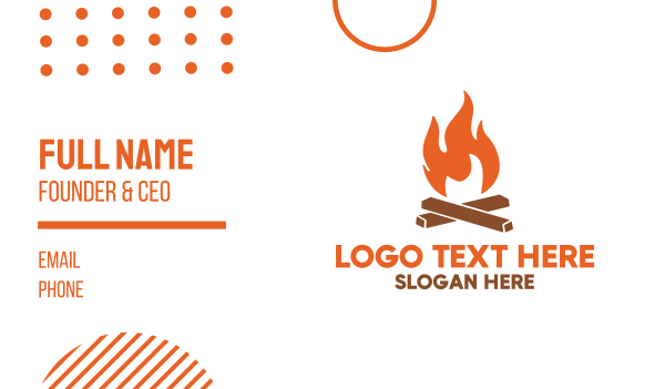 burning - Campfire Fire Flames Business card horizontal design