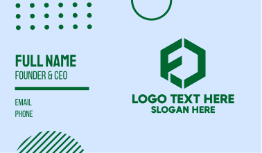 Green Hexagon Letter F Business Card