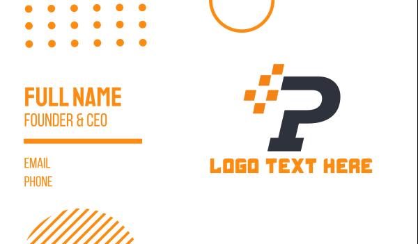 go kart - Automotive Letter P Business card horizontal design