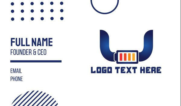 cell - Blue Horns Battery Business card horizontal design