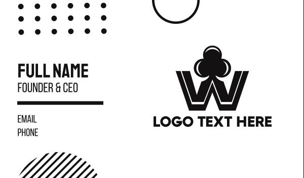 poker - Black W Club Business card horizontal design