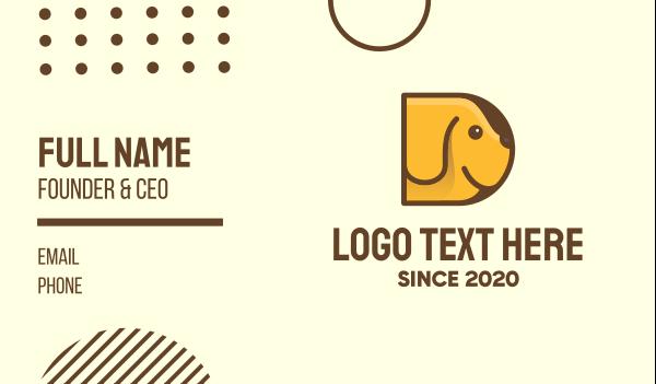 whelp - Yellow Dog Letter D Business card horizontal design