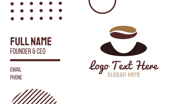 silhouette - Coffee Cup Saucer Business card horizontal design