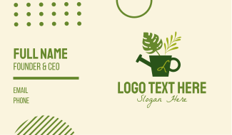 Plant Watering Can Lettermark Business Card