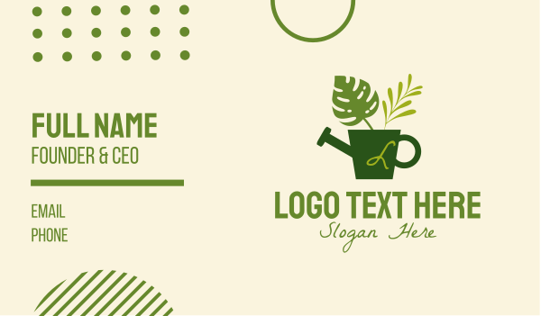 plant shop - Plant Watering Can Lettermark Business card horizontal design