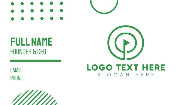 lineart - Green Round Golf Course Business card horizontal design